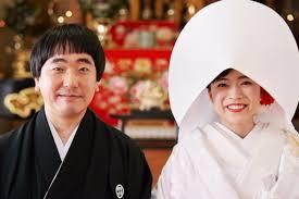 結婚式の時の本多力さんと奥様、田島ゆみかさん